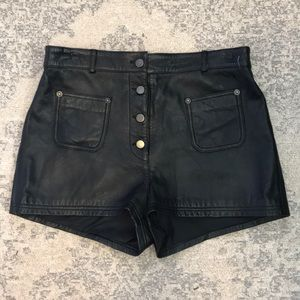 Vintage High Waisted real Leather shorts sz L